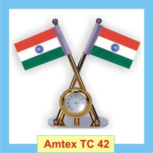 round clock with Indian flags