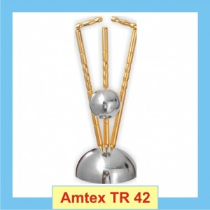 Cricket Trophy with a ball hitting the stumps