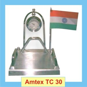 Silver Table Clock With Indian Flag